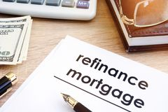 Refinance mortgage application stock images