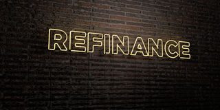 REFINANCE -Realistic Neon Sign on Brick Wall background - 3D rendered royalty free stock image. Can be used for online banner ads and direct mailers Royalty Free Stock Photography
