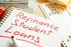 Refinance Student Loans form. Royalty Free Stock Photos
