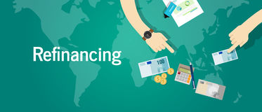 Refinancing business financial investment concept debt problem. Vector Stock Photography