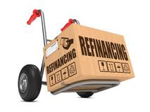 Refinancing - Cardboard Box on Hand Truck. Refinancing - Cardboard Box on Hand Truck Isolated on White Background royalty free stock photos