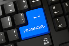 Refinancing CloseUp of Blue Keyboard Keypad. 3D. Refinancing on PC Keyboard Background. 3D Illustration Stock Photos