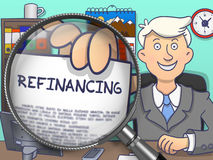 Refinancing through Lens. Doodle Concept. stock illustration
