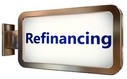 Refinancing on billboard background. Refinancing wall light box billboard background , isolated on white Stock Images