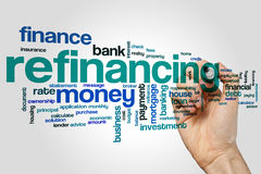 Refinancing word cloud. Concept on grey background royalty free stock photos
