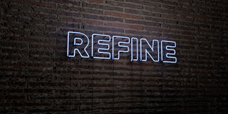 REFINE -Realistic Neon Sign on Brick Wall background - 3D rendered royalty free stock image Stock Images