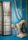 Refined boudoir interior. In the blue colors royalty free stock photography