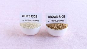 Refined Grain White Rice and Whole Grain Brown Rice. Refined grain white rice, and whole grain brown rice that is a healthy food, in bowls with a paper slip on royalty free stock photography