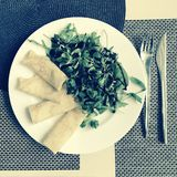 A refined offering of a Maslenitsa plate of salmon crepes and salad dripped with balsam. In Slavic mythology, Maslenitsa is a sun-festival, personified by the Stock Photography