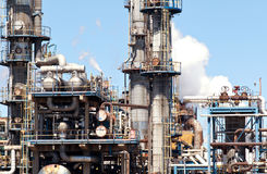 Refined Petroleum Petrochemical Plant Smokestack Pipeline Stock Photography