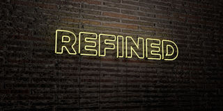 REFINED -Realistic Neon Sign on Brick Wall background - 3D rendered royalty free stock image Royalty Free Stock Photography