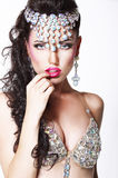 Refined Showy Woman with Bright Diadem and Shining Bra Stock Images