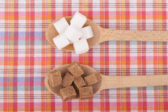 Refined sugar in the spoons Stock Photo