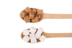 Refined sugar in the spoons Stock Photography