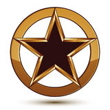 Refined vector black star emblem with golden outline Royalty Free Stock Image