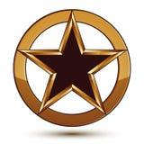 Refined vector black star emblem with golden outline. 3d pentagonal design element, clear EPS 8. 3d golden ring, polished glossy signet Royalty Free Stock Image