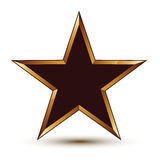 Refined vector black star with golden outline, festive 3d Royalty Free Stock Photo