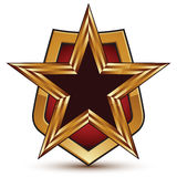 Refined vector golden star emblem placed on a shield, 3d pentago Royalty Free Stock Images