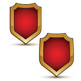 Refined vector red shield shape emblems with golden borders, 3d. Polygonal design elements vector illustration