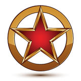 Refined vector red star emblem with golden borders, 3d design element. Refined vector red star emblem with golden borders, 3d pentagonal design element. 3d stock illustration