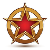 Refined vector red star emblem with golden borders, 3d pentagona. L design element. 3d golden ring, polished glossy signet Royalty Free Stock Photo