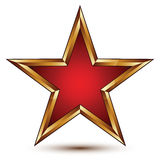 Refined vector red star with golden outline, festive 3d. Pentagonal design element, clear EPS 8 Stock Image