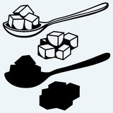 Refined white sugar, spoon Stock Photography