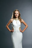 Refined young model posing in elegant dress. Close-up Stock Photography