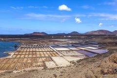 Refinería de la sal, salina de Janubio, Lanzarote Fotos de archivo libres de regalías