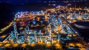 Refinería de petróleo de la visión aérea Fotografía de archivo