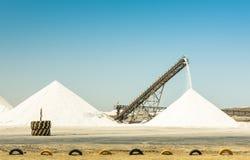 Refinería industrial de la sal con la banda transportadora de funcionamiento Foto de archivo libre de regalías