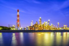 Refineries on a River Stock Image