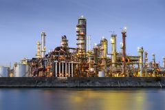 Refineries on a River Stock Photography