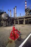 Refinery. Detailed view of a fire nozzle refinery plant stock image