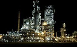 Refinery. At night with lights Royalty Free Stock Photos