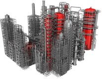 Refinery. Abstract refinery, 3d render isolated on white royalty free illustration