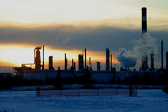 Refinery. An oil refinery in Edmonton,Alberta,Canada royalty free stock images