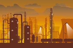 Refinery. Big and modern refinery at dusk vector illustration