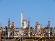 Refinery chimneys Royalty Free Stock Photos