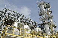 Refinery Column. Refinery Overhead Drum, and Fuel Gas Butane and Propane tower Royalty Free Stock Images