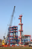 Refinery construction site with machinery Stock Images