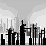 Refinery Environment. Silhouettes is original artwork. The vector file is in AI-EPS 8 format stock illustration