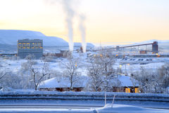 Refinery Factory Plant in winter Stock Images