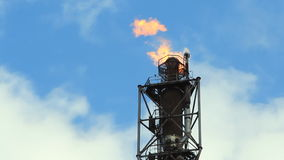 Refinery fire gas torch stock footage