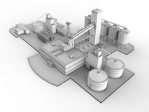 Refinery illustration. 3D render illustration of a refinery. The composition is isolated on a white background with shadows Royalty Free Stock Photography