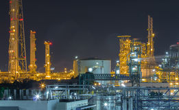 Refinery industrial factory in night time Royalty Free Stock Photos