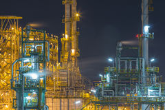 Refinery industrial factory in night time Royalty Free Stock Photography