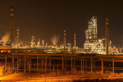 Refinery industrial plant at night Stock Photos