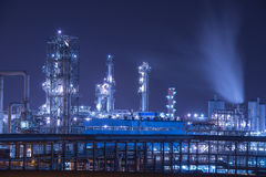 Refinery industrial plant at night Royalty Free Stock Image