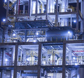 Refinery industrial plant at night royalty free stock photos